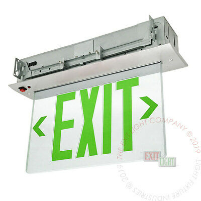 Green Led Emergency Exit Light Sign Recessed Edge Lit Battery Backup Alum - Elrg