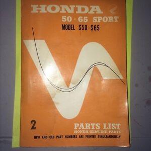 Honda S50 S65 Sport Parts Book Regina Regina Area image 1