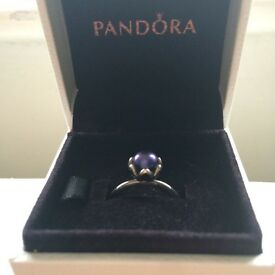 Discontinued blue Pearl Pandora ring