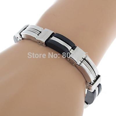 Mens Chain Link Wristband Bangle Cuff Steel Bracelet Rubber Silver Tone 21-6