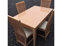 Modern 4ft Dining Table And 4 Chairs. Very Good Condition. Can Deliver