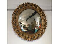 Fantastic Vintage Gold Plaster Framed Convex Mirror