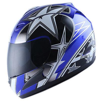NEW Motorcycle Full Face Helmet Street Bike Adult Star Glossy Blue Size S M L