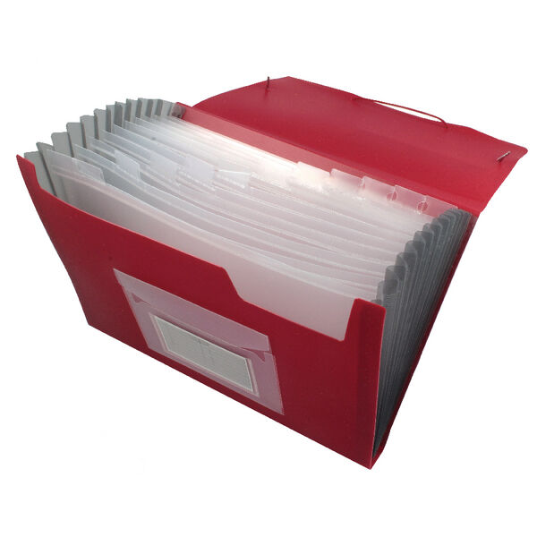 A4 Q CONNECT RED 13 PART EXPANDING FILE ORGANISER