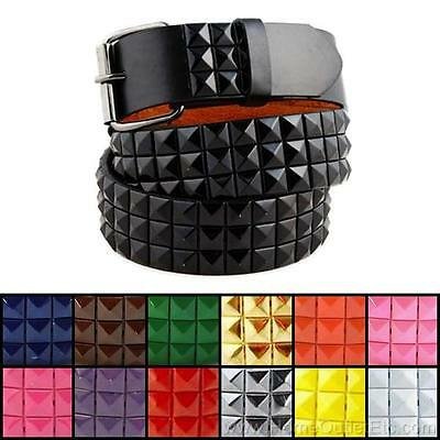 3-Row Metal Pyramid Studded Leather Belt Unisex Punk Rock Goth Emo Biker - Pyramid Stud Belt