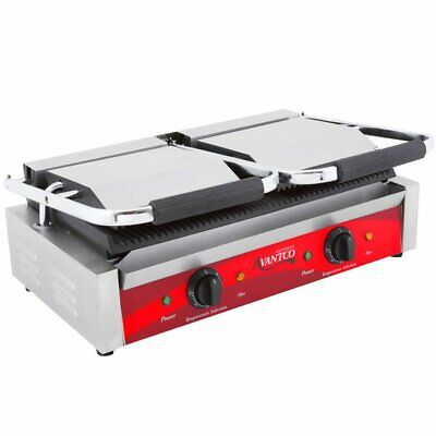 Double Grooved Top Bottom Commercial Panini Sandwich Grill Press Resto