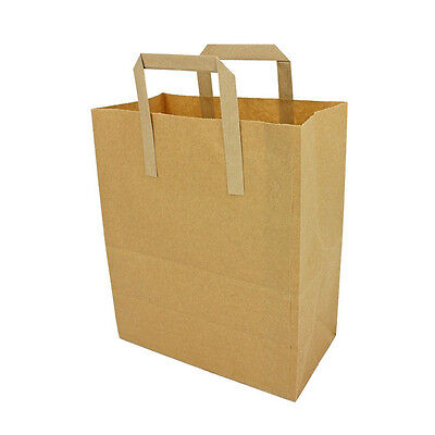 Small Brown Takeaway Carrier With Handles, 180+90x220mm, Paper Bag x 100