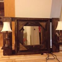 Rustic mirror with light sconces
