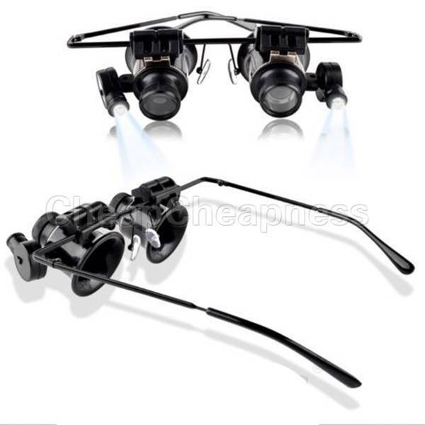 Jeweler Watch Repair LED Light 20x Magnifier Magnifying Eye Glasses Loupe Lens S