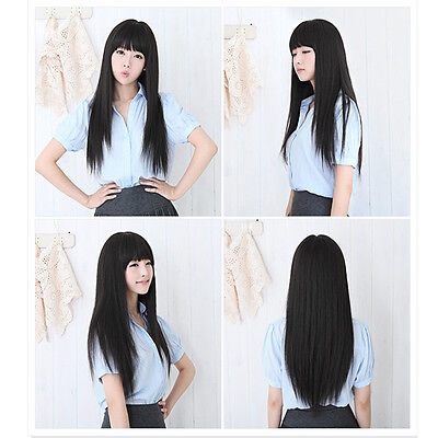 New Style Women's Girl Black Fashion Long Straight Full Hair Wigs Cosplay Party
