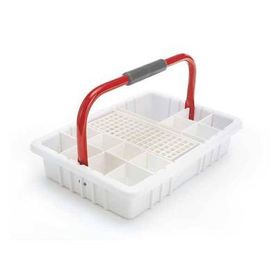 White Phlebotomy Tray With Red Handle And 13mm Test Tube Rack 1 Ea