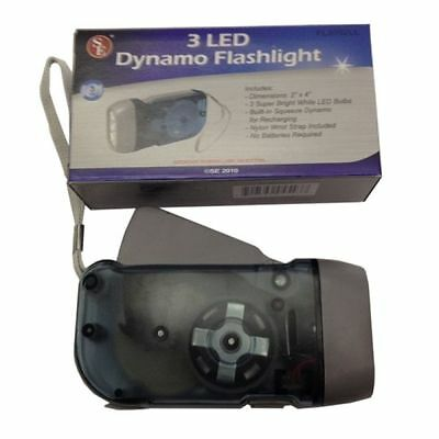 3 LED Dynamo Flashlight Emergency Prep Camping Hiking No Batteries Ready Light