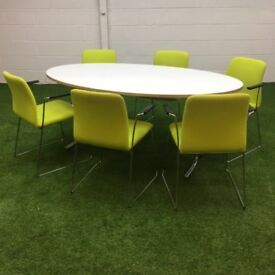 White Oval Table with 6 Boss Design Chairs 3 available