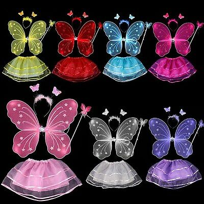 4Pcs Kids Baby Girls Fairy Costume Set Headband Butterfly Wings Wand Tutu Skirt (Kid Fairy Costume)