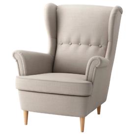 Wingback Chair - IKEA STRANDMON Skiftebo light beige
