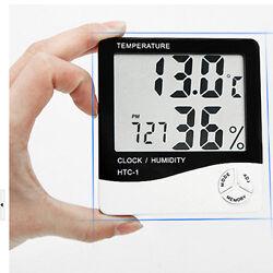 Desk Portable LCD Temperature Hygrometer Date Table Digital Humidity Alarm Clock
