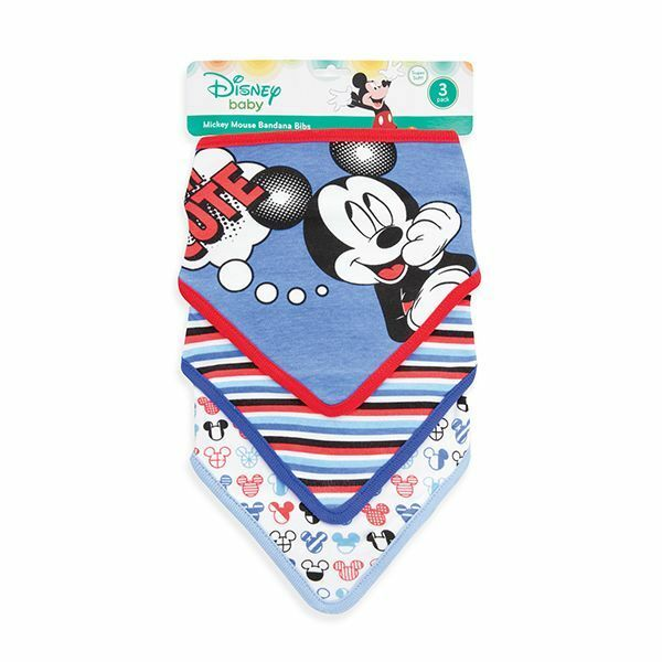 Disney Mickey Mouse Baby Boys' 3-Pack Bandana Bibs Cotton