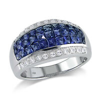 14K White Gold 4.70 TCW Diamond & Blue Sapphire Sapphire Ring