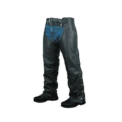 Unisex Mens Womens Leather Biker Motorcycle Chaps Plain New All Sizes
