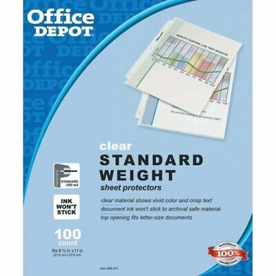100 Clear Std Weight Sheet Plastic Letter Page Protectors Office 8.5 X 11 Pack