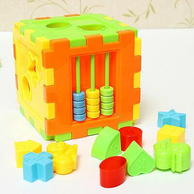 Baby Kid Building Block Brick Match Sort Puzzle Box Educational Intellectual Toy