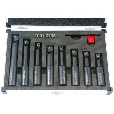 8 Piece 34 Round Shank Indexable Boring Bar Set 1001-0708