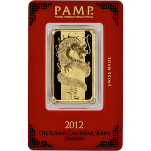 PAMP SUISSE 2012 Year of the Dragon 1 oz 9999 Pure Gold Bar