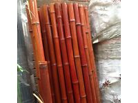 1.9m long X 1.8m high thick red bamboo screening