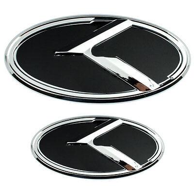 2 CHROME BLACK K EMBLEMS BADGES FOR KIA TRUNK OR HOOD PAIR  comprar usado  Enviando para Brazil