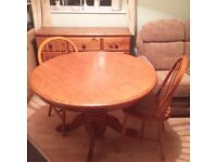 Antique Pine dining room table and four chairs