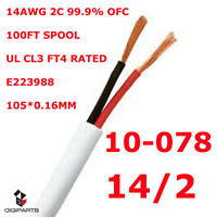 100FT UL SPEAKER CABLE 14AWG WIRE CL3 IN WALL 14/2 GAUGE 2 CONDU