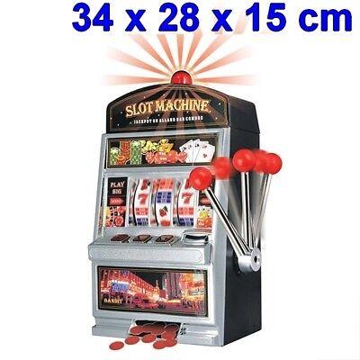 Hucha diseño maquina tragaperras con luz y sonido 24x38x15 cm, ranura, depósito