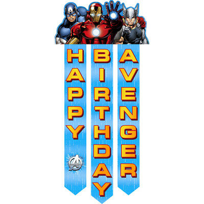 AVENGERS ASSEMBLE BANNER Happy Birthday Party Wall Decorations Door Backdrop