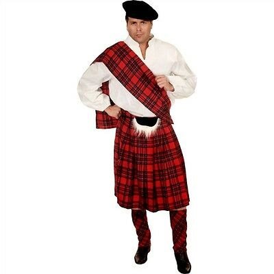Scottish Kilt Plaid Highlander Fancy Dress Up Halloween Adult Costume 2 COLORS
