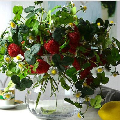 Christmas Home Furniture Decor 6set x 3 Branch Artificial Strawberry Fruit Plant