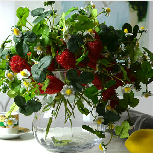 Christmas Home Furniture Decor 6pcs x 3 Branch Artificial Strawberry Fruit Plant