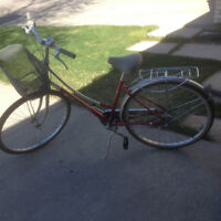 """Antique Gaint 3 speed road bike with backet and back rack, 17"""""""