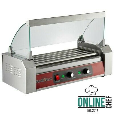 12 Hot Dog Roller Grill With 5 Rollers Sneeze Guard Slanted 110 Volts 750 Watts