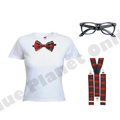 Damen Geek Schick Schulmädchen Kostüm Kleid Outfit Rot Schottenkaro - Geek Mädchen Kostüm