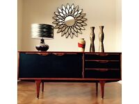 RETRO 1960's TEAK SIDEBOARD REFURBISHED IN FARROW & BALL BLACK