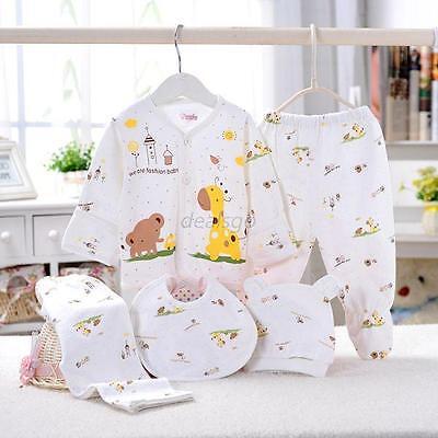 (5Pcs Newborn Baby Cotton T-Shirt Pants Bib Hat Suits Infant Clothes Set 0-3M Set)