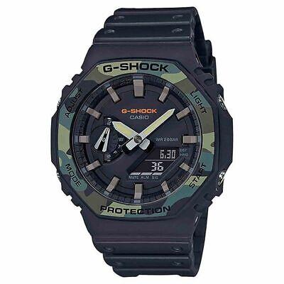 New Casio G-Shock Analog-Digital Black Camo Resin Strap Mens Watch GA2100SU-1A Casio Mens Analogue Watch