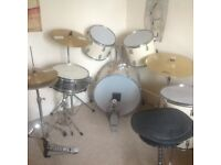 Olympic 5 piece drum set with additional 3 cymbals