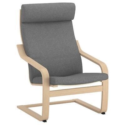 IKEA Sessel, Eichen-Birkenfurnier weiß lasiert, Lysed grau,Stuhl,