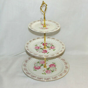 ADELINE 3-D TIERED CAKE PLATE TID-BIT SERVER WEDDING BRIDAL