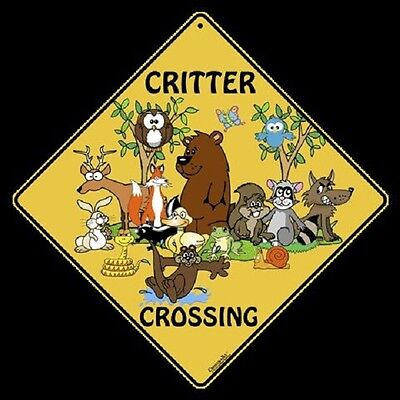 """CRITTER Crossing Sign, 12"""" on sides, 16"""" on diagonal, Indoor/Out-Aluminum"""