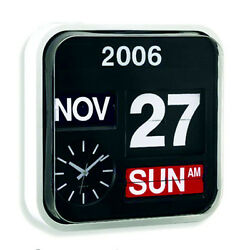 Calendar Clock Auto Flip Wall Desk Retro Modern Black White Large Numbers - NEW