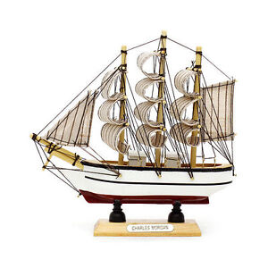 "16cm 6.2"" Mini Hand-Crafted Wooden Sailboat Ship Model Miniature for Decoration"