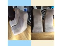 Two cream suede gaming chairs. £40 for both OOS