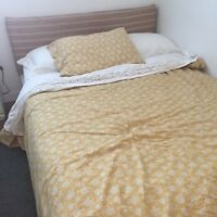 Upholstered Double IKEA bed and mattress. Sheets and duvet set.